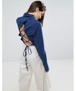 Asos | Темно-Синяя Джинсовая Рубашка Со Шнуровкой