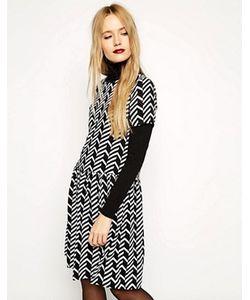 Reclaimed Vintage | Черно-Белое Свободное Платье С Заниженной Талией