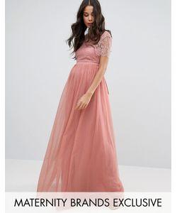 Little Mistress Maternity   Платье Макси Для Беременных С Кружевным Лифом