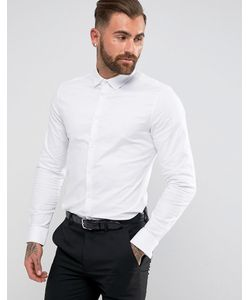 Asos | Строгая Эластичная Оксфордская Рубашка Приталенного Кроя С Двойными Манжетами