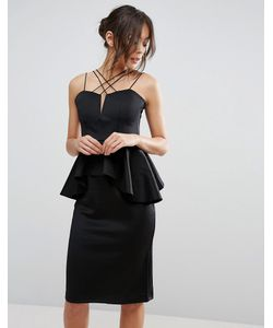 Rare | Strap Ruffle Midi Dress With Peplum