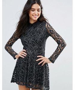 Oh My Love | Короткое Приталенное Кружевное Платье С Контрастным Воротником