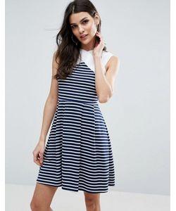 Asos | Короткое Приталенное Платье В Полоску С Контрастной Горловиной