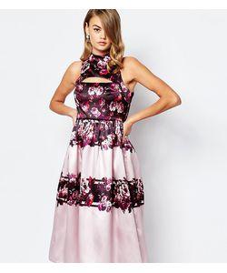 True Violet | Пышное Сатиновое Платье Миди Для Выпускного С Вырезом