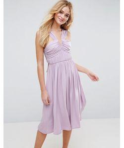 Asos | Платье Миди С V-Образным Вырезом И Сборками