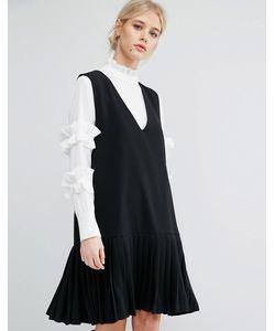 Zacro | Цельнокройное Платье Без Рукавов Со Складками На Подоле