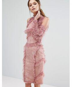 True Decadence | Кружевное Платье Миди С Оборками