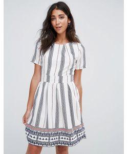 Yumi | Короткое Приталенное Платье С Принтом И Поясом