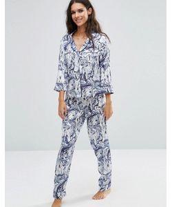 Asos | Атласный Пижамный Комплект С Окантовкой И Мраморным Принтом