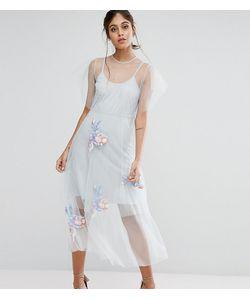 Hope and Ivy | Сетчатое Приталенное Платье Миди С Вышивкой Hope Ivy