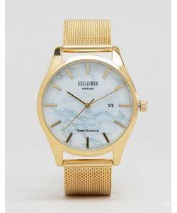 Reclaimed Vintage | Золотистые Часы С Мраморным Принтом И Сетчатым Ремешком