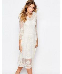 Navy | Кружевное Платье Миди London