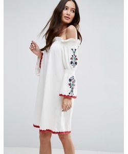 Asos | Платье С Открытыми Плечами И Вышивкой На Рукавах