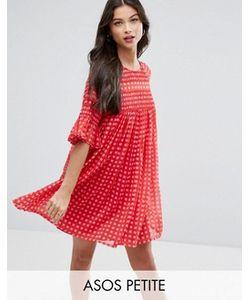 ASOS PETITE | Свободное Присборенное Платье В Клеточку