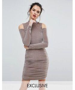 Club L | Бархатное Платье Мини В Рубчик С Вырезами На Плечах