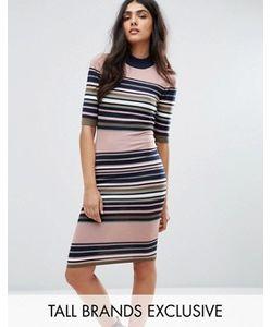 Y.A.S Tall   Платье В Полоску С Воротом-Трубой И Рукавами До Локтя