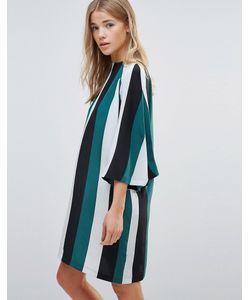 Ganni | Шелковое Цельнокройное Платье В Полоску Electra