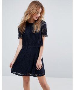 Asos | Кружевное Короткое Приталенное Платье С Кроп-Топом
