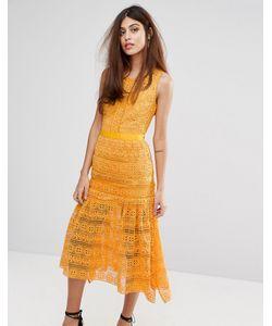 True Decadence | Кружевное Платье Миди С Рюшами