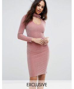 Club L | Бархатное Платье Миди С Высокой Горловиной Ribbed