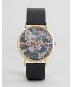 Reclaimed Vintage | Часы С Цветочным Принтом И Черным Кожаным Ремешком