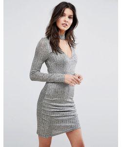 Parisian | Облегающее Платье С Длинными Рукавами И Горловиной-Чокером