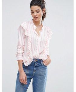 Vero Moda | Рубашка В Полоску Карамельного Цвета С Оборками