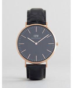 Daniel Wellington | Золотисто-Розовые Классические Часы На Кожаном Ремешке 40 Мм