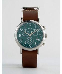Timex | Большие Часы С Кожаным Ремешком И Хронографом