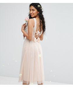 Maya | Платье Миди С Отделкой И Двумя Бантами Bow