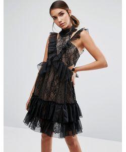 THREE FLOOR | Кружевное Платье Мини С Высоким Воротом