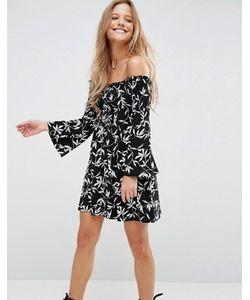 Asos | Монохромное Платье Мини С Широким Присборенным Вырезом И Рукавами Клеш
