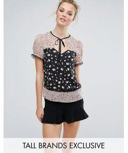 Fashion Union Tall | Блузка С Комбинированным Принтом И Кружевной Отделкой