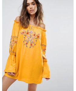 boohoo | Платье С Открытыми Плечами И Цветочной Вышивкой