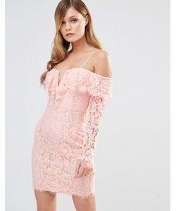 Dark Pink | Платье С Оборкой