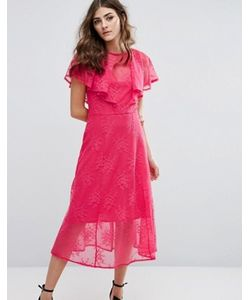 Miss Selfridge | Кружевное Платье Миди С Оборками