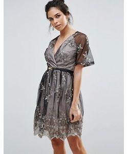 Little Mistress | Приталенное Платье Мини С Вышивкой И Поясом