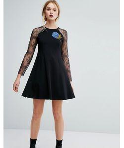 Sportmax Code | Платье С Кружевными Вставками И Цветочной Отделкой