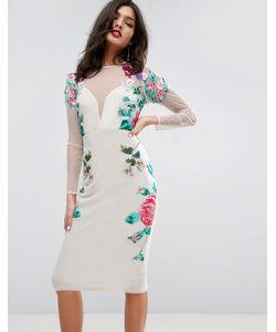 Asos | Платье Миди С Цветочной Вышивкой