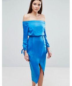 Lavish Alice | Платье Миди С Открытыми Плечами И Завязками На Рукавах