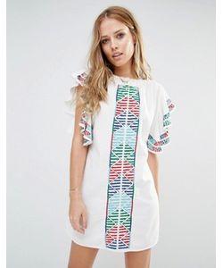 Piper | Платье С Вышивкой И Оборками На Рукавах Bogo