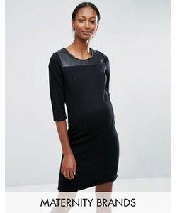 Mama Licious | Трикотажное Платье Для Беременных С Кожаной Вставкой Mamalicious