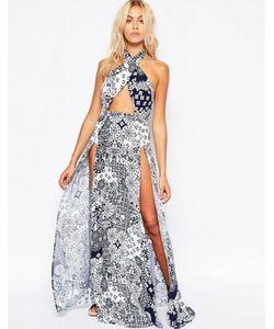 Asos | Пляжное Платье Макси С Темно-Синим Мозаичным Принтом Перекрещивающимися На Шее Бретелями