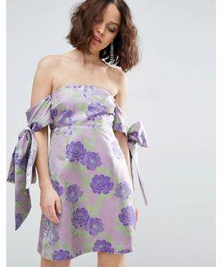 Asos | Жаккардовое Платье Мини С Открытыми Плечами И Бантом-Завязкой Salon
