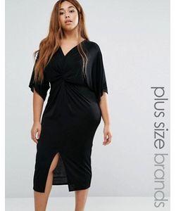 Missguided Plus | Платье Миди С Перекрученной Драпировкой И Рукавами-Кимоно