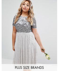 Lovedrobe Luxe | Платье Миди С Юбкой Из Тюля И Цветочной Отделкой