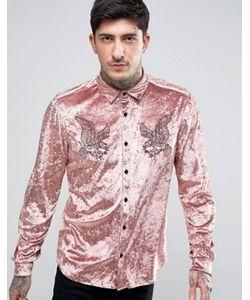 Asos | Бархатная Рубашка Классического Кроя С Вышивкой