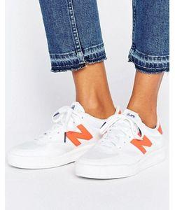 New Balance | Белые Кроссовки С Оранжевой Неоновой Отделкой 300