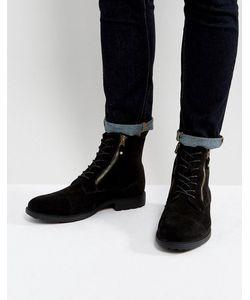 Asos | Черные Ботинки Со Шнуровкой И Двумя Молниями