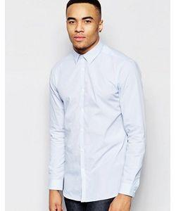 New Look | Бело-Голубая Рубашка Классического Кроя В Полоску